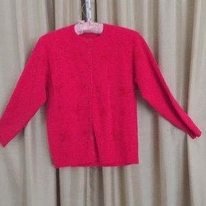 Sweaters - Vintage button down fuchsia sweater size S
